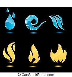 acqua, fuoco, lucido, icone
