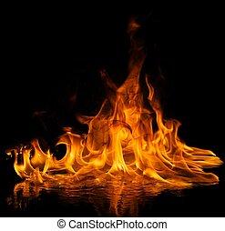 acqua fuoco, riflesso, fiamme