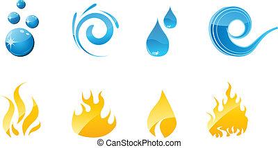 acqua fuoco, set, icone
