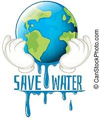 acqua, fusione, risparmiare, segno terra