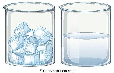 acqua ghiaccio, pieno, due, becher, vetro