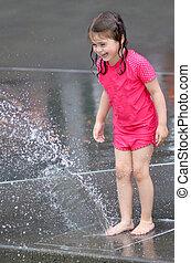 acqua, gioco, fontana, bambino