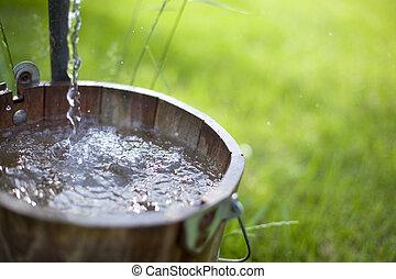 acqua, gli spruzzi, secchio