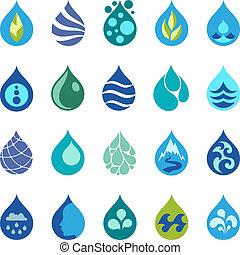 acqua, goccia, disegno, elementi, Icone