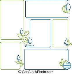 acqua, goccia, germoglio, ecologia, set, di, bandiera, cornici