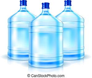 acqua, grande, bottiglie, tre, pulito