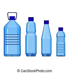 acqua, grande, piccolo, bottiglie, linea