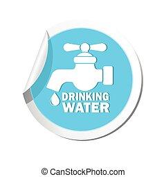 acqua, icon., vettore, rubinetto, illustrazione