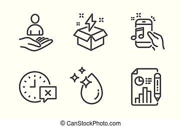 acqua, icone, set., goccia, idea, creativo, tempo, reclutamento, vettore, musica, telefono, relazione, documento, signs.