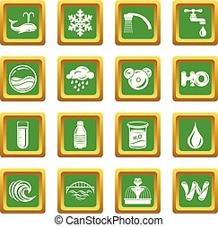 acqua, icone, set, verde, quadrato, vettore
