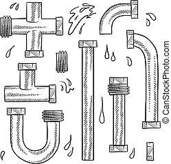 acqua, idraulica, tubi per condutture, schizzo