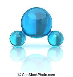 acqua, illustrazione, 3d, molecola