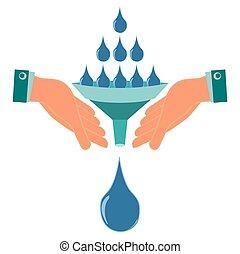 acqua, imbuto, suo, naturale, aiuto, versare, globale, irrigazione, pioggia, warming., gocce, siccità, flood., collection., disastro, piante, hands.