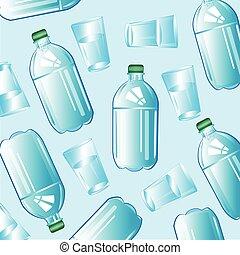 acqua, in, bottiglia, e, vetro