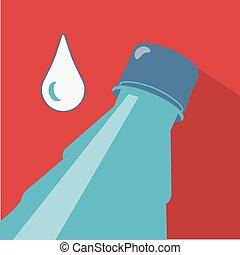 acqua, inclined., goccia, bottiglia, water.