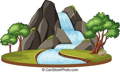acqua, isolato, paesaggio, cadere