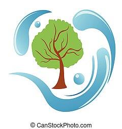 acqua, logotipo, albero