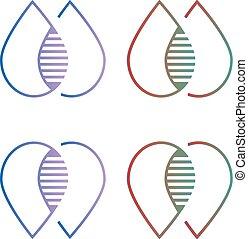 acqua, logotipo, fusione
