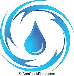 acqua, logotipo, goccia