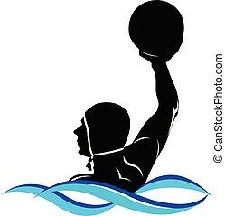 acqua, logotipo, polo