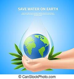 acqua, manifesto, risparmiare, pubblicità, terra