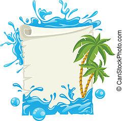 acqua, manifesto, viaggiare, schizzi, palme