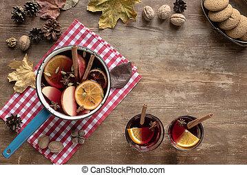 acqua, mestolo, vino pasticciato