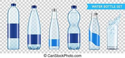 acqua minerale, bottiglie, set