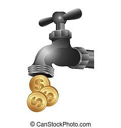 acqua, monete, rubinetto, risparmiare