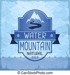 acqua, montagna, fondo, in, retro, style.
