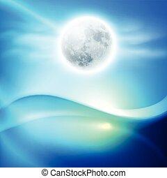 acqua, onda, notte, con, pieno, moon., blu, fondo.