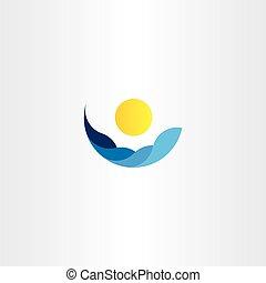 acqua, onde, sole, icona, vettore, logotipo, elemento, segno