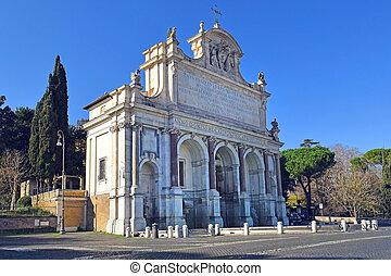 Acqua Paola fountain on the Janiculum Hill, Rome, Italy - ...