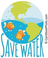acqua, pesce rosso, tema, risparmiare, nuoto