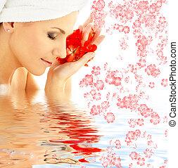 acqua, petali, fiori, signora, rosso