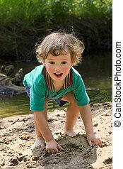 acqua, piccolo, fiume, giochi, bambino