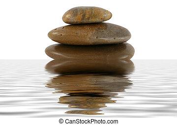 acqua, pila, zen, riflessione, pietre