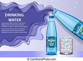 acqua potabile, annunci, vettore, carta, taglio, illustrazione