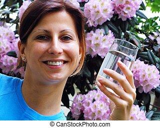 acqua, ragazza, bere, giovane