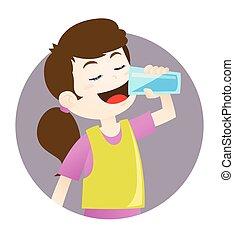 acqua, ragazza, bere