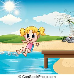 acqua, ragazza, saltare