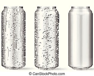 acqua, realistico, gocce, lattine, alluminio