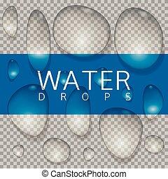 acqua, realistico, gocce