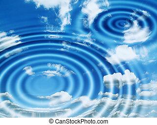acqua, riflesso, nubi, astratto, increspature