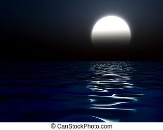 acqua, riflesso, splendere, luna, grande, notte, scuro, ...