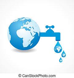 acqua, risparmiare, concetto, terra