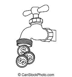 acqua, risparmiare, rubinetto, monete, silhouette