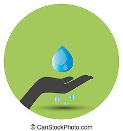 acqua, risparmiare, sfondo verde