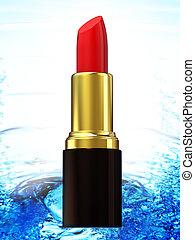 acqua, rossetto, fondo, rosso