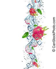 acqua, schizzo, frutta, fresco, drago